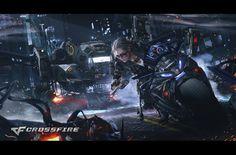 Crossfire by Min Gyu Lee Cyberpunk City, Arte Cyberpunk, Cyberpunk 2077, Blade Runner, Science Fiction, Dreamland, Min Gyu, Cyberpunk Character, Lee