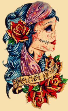 Candy Skull Gypsy Tattoo! by LexiiKazumi.deviantart.com on @deviantART