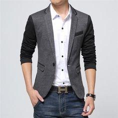 2017 New Fashion Casual Men Blazer Cotton Slim Korea Style Suit Blazer Suits Jacket