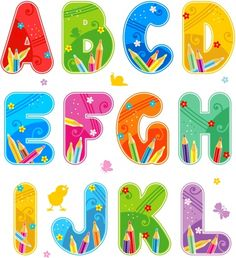 Free Colorful Fonts | Vector colorful font design alphabet Free vector in Encapsulated ...
