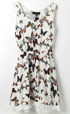 White Sleeveless Butterfly Print Frill Hem Dress - Sheinside.com