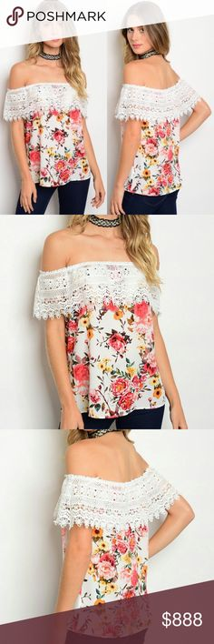 💜ARRIVED!!💜 Off The Shoulder Floral Top Off-The-Shoulder Lace Trim Top Relaxed Fit Pink Multi Floral 97% Polyester / 3% Spandex Threadzwear Tops