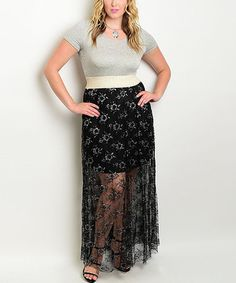 Love this Gray & Ivory Sheer-Skirt Maxi Dress - Plus on #zulily! #zulilyfinds