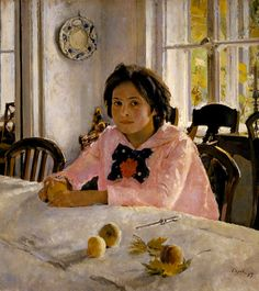 Confident. As a reward for doing so well at her piano recital, she can have peaches. She is relieved it went so well. Life is good and sunny! Girl with peaches by Valentin Serov