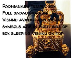 This is jadau antique Vishnu padhbhnabh temple jewelled casket, it's net weight is 722gms and 650 gms. 92% gold, rosecut diamonds,  ruby in this. vishnu's 4 avatars in four side of box, and sleeping Vishnu and Devi lakhshmiji on the top of the box. Shanks and chakras are in the other side of box.  Please call me for any details  Heena +919829425664