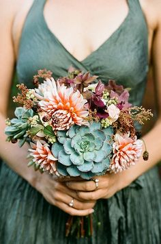 succulent bouquets are so me! Plus the colour of the dress!!!