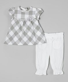 Look at this #zulilyfind! Gray Plaid Cap-Sleeve Top & White Pants - Infant by Zip Zap #zulilyfinds