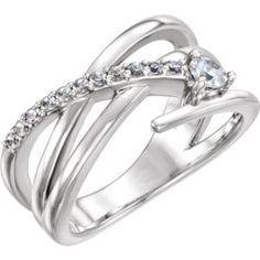 122707 / Set / 14K White / Polished / 1/3 CTW Diamond Freeform Ring