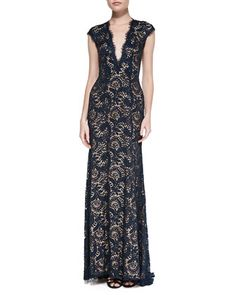 Plunge-Neck Beaded Lace Gown by Jovani at Neiman Marcus.