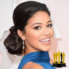 Oscars The Best Red Carpet Updos - Gina Rodriguez - click through to see more hair inspiration! Celebrity Moms, Celebrity Houses, Celebrity Outfits, Celebrity Hairstyles, Hairstyles 2018, Celebrity Pictures, Celebrity Style, Blonde Celebrities, Cute Celebrities