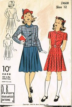 1940s Vintage WWII Girl's Dress Jacket 1940 Du Barry Sewing Pattern 2466 Sz 12…