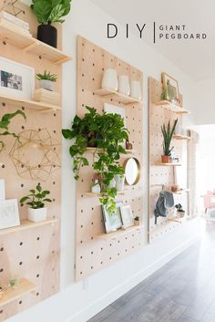 DIY Giant Pegboard Shelves | Great for large walls and big rooms! | Vintage Revivals