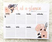 Printable Weekly Planner Salmon and Black Flowers