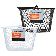 Click here to enlarge Essentials Metal Rectangular Wire Baskets with Handles