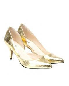Gold Kitten Heel Pumps | Tsaa Heel