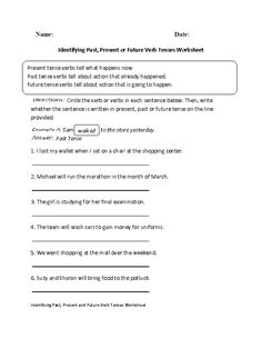 Identifying Past,Present or Future Verb Tenses Worksheet