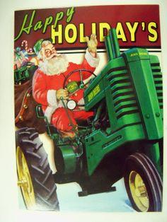 John Deere Santa Tractor Cards Der 77104 Happy Holidays