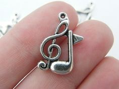 8 Double music note charms 21 x 14mm tibetan by nicoledebruin, $2.50