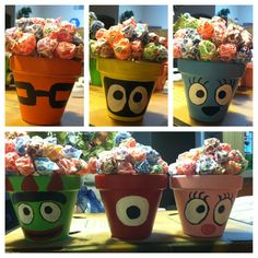 These were center pieces I made for my sons birthday party, I wanted to fill them with cute candies in the characters colors instead of suckers but everyone loved them anyway. YO GABBA GABBA