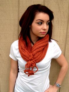 Hand Knitted Neck Warmer with Tassels - Seamless Cowl - Infinity Scarf - Orange Scarf - Winter Fashion on Etsy, $28.50