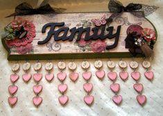 "Other: ""Love Family Time"" Vintage Birthday Forever Calendar Family Birthday Calendar, Family Birthday Board, Family Calendar, Wooden Calendar, Diy Calendar, Cute Crafts, Crafts To Do, Paper Crafts, Vintage Birthday"