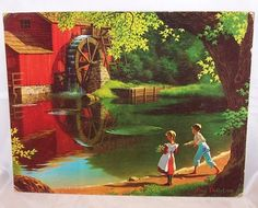 Red Watermill w Children, Child, Detlefsen Lithograph Thrift Store Art, Art Store, Thrift Stores, Paul Detlefsen, Cover Pics For Facebook, Fairy Drawings, Thing 1, Popular Art, Print Artist