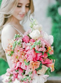 Pink spring bridal bouquet For more wedding inspiration check out our wedding blog: www.creativeweddingco.com
