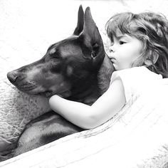 Such a beautiful and heartwarming photo that captures the bond between this little girl and her fierce protector.