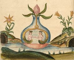 From the 18th century manuscript on alchemy Clavis Artis, attributed to Zoroaster. Biblioteca dell'Accademia Nazionale dei Lincei, Roma.