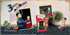 Double page layout of 3 boys who are all grown up now.