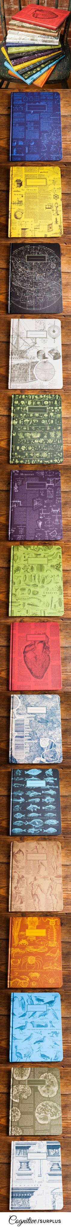 The pages are college ruled on one side and graph paper on the back! They make perfect gifts for all your science and math nerd friends. Each notebook tells its own story sporting vintage imagery and text from the first encyclopedia. Combination of two loves, vintagey awesomeness and a beautiful notebook: