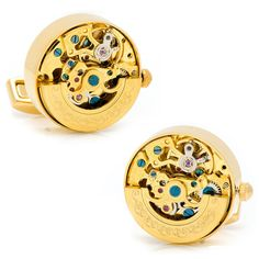 Gold on Gold Kinetic Watch Movement Cufflinks Size: Approximately in diameter. Material: Stainless steel with gold plated vintage watch parts. Type: Whale back closure Samuels Jewelers, Golden Watch, Watch Cufflinks, Penny Black, Vintage Watches, Stainless Steel, Accessories, Men's Jewelry, Jewellery
