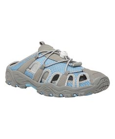 Look at this Propét Light Blue & Gray Discovery Slide on #zulily today!