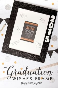 """Create great memories for your grad with a """"Graduation Wishes"""" frame using Tiny Prints graduation stationery. Diy Graduation Gifts, Graduation Ideas, Memory Frame, Tiny Prints, Party In A Box, Grad Parties, Party Signs, Party Planning, Create"""