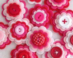 LEMON FRESH x3 Handmade Layered Felt Flower by MagentaGingerCrafts