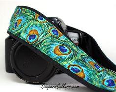 Peacock dSLR Camera Strap, Feathers, Teal, Green, Aqua, Gold,  SLR.