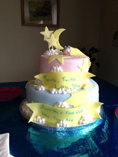 Annie's baby shower cake.  Twinkle twinkle little star.  Soon we'll find out what you are.