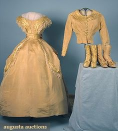Augusta Auctions, April 2006 Vintage Clothing & Textile Auction, Lot 474: 7 Piece Silk Wedding Dress, C. 1865