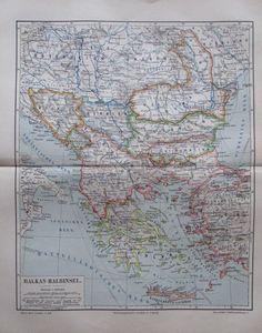 BALKAN HALBINSEL 1893 antike historische Landkarte Lithographie antique map