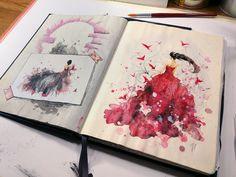 Woman in red sketch #акварель #aquarelle #drawing #art #artist #artwork #painting #illustration #watercolor #aquarela #gemälde #sketchbook #skizzenbuch #creative #picture #Kunst #watercolor