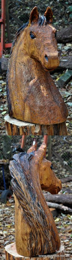 Horse Head bust. Chainsaw carving by Sally May