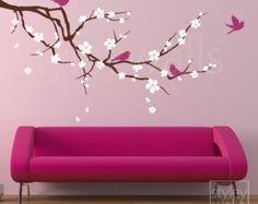 Etiqueta de pared flor cereza flor de cerezo y por styleywalls