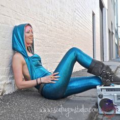 Electric Blue Holographic Burning Man Costume, Disco Jumpsuit, Hoop Clothes, Playa Wear, EDM Catsuit, Festival Outfit - Handmade -