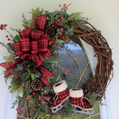 New Christmas Wreath, Holiday Wreath, Front Door Wreath, Christmas Decor,  Country Christmas Wreath with Ice Skates by PrissyPetalsBoutique on Etsy https://www.etsy.com/listing/487419749/new-christmas-wreath-holiday-wreath