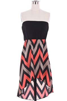 Coral Hi-Lo ZigZag Dress