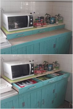 To decorate your kitchen counter with inexpensive sort of designing, then you are left with the best option of using wood pallet kitchen cabinet and drawers. It is simple in terms of designing and do not demand for spending handsome money. According to your needs and requirements, you can set three portions of cabinets and three portions of drawers side.