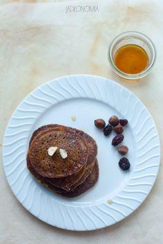 jadłonomia · roślinne przepisy: Dyniowe pancakes Sunday Breakfast, Food Test, Brunch Recipes, Pancakes, Muffin, Yummy Food, Lunch, Vegan, Dinner