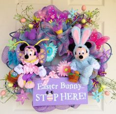 Disney ~ Easter Deco Mesh Wreath Mickey and Minnie Mouse