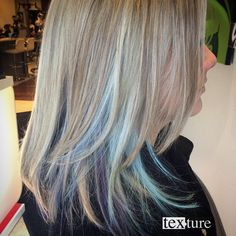 Peekaboo blues and purples through out blonde highlights by Ziad! Peekaboo blues a Blue Peekaboo Highlights, Peekaboo Hair, Gray Hair Highlights, Peekaboo Color, Hair Color Blue, Blonde Color, Cool Hair Color, Blue Hair, Hair Colors