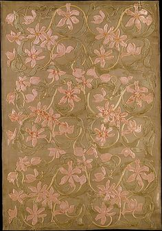 Tulips panel. Candace Wheeler, 1883-1887, New York, Silk and metallic cloth appliqued with silk velvet and embroidered with silk and metallic-wrapped cotton threads